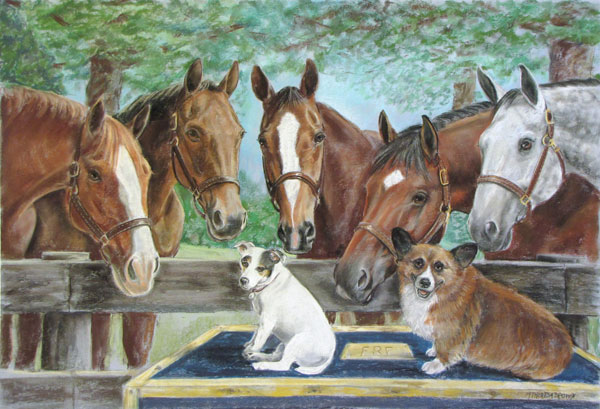 Pastel Portrait of 5 Horses and 2 Dogs