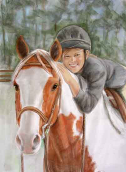 Oil Portrait Horse Girl