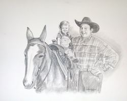 pencil portrait baby and mule