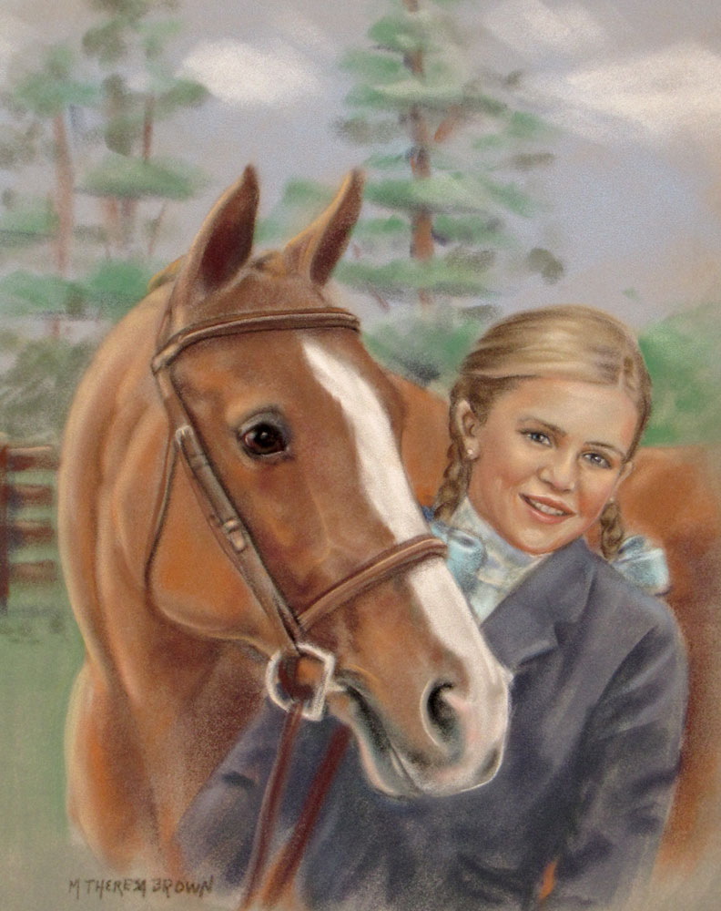 girl and horse inpastel