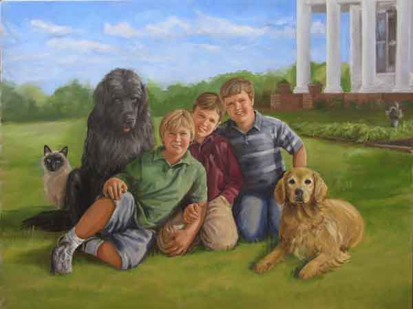 oil portrait, three boys with 2 dogs and cat