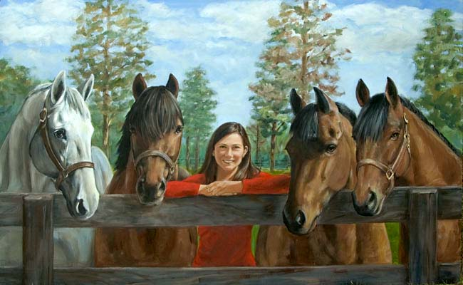 Oil Painting Portrait of Girl and Four Horses