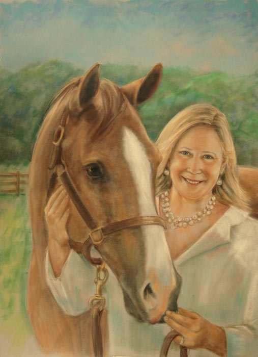Pastel Portrait of Woman and Horse