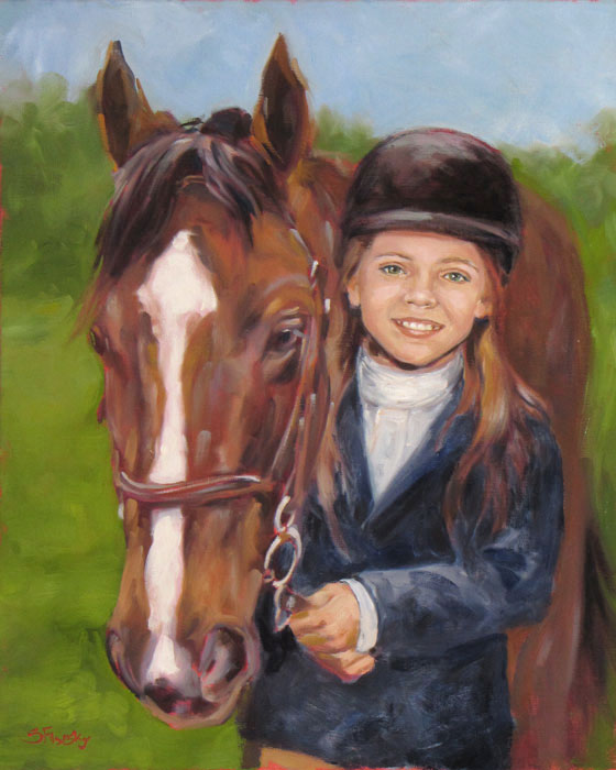 Oil Portrait of Girl and Horse