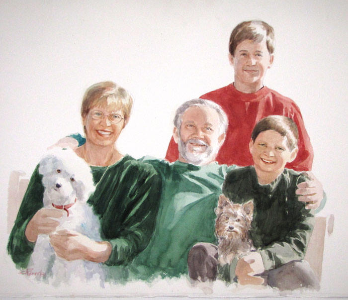Watercolor Portrait family and dogs